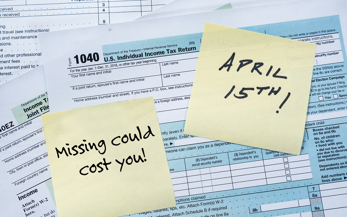 Missing The April 15th Tax Deadline Could Cost you.